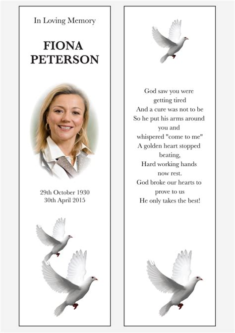 Template 1 Last Memories In Loving Memory Bookmark Template Free