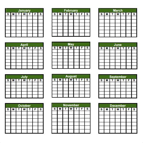 blank yearly calendar template yearly calendar template 7 premiuim and free