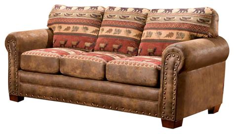 lodge style sofas lodge sofa rustic upholstered sofa cabin style lodge