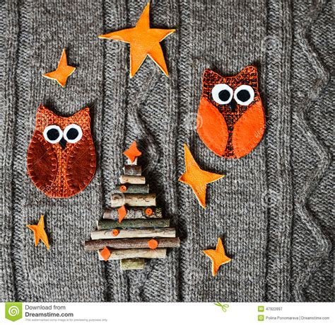 handmade new year decoration handmade decoration on warm knitted background