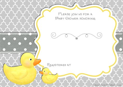 free printable rubber duck baby shower invitation baby