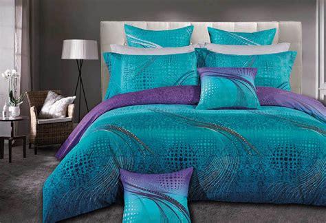 Floral Duvet Cover Set Queen Size Zephyr Quilt Cover Set 3pc Turquoise Purple
