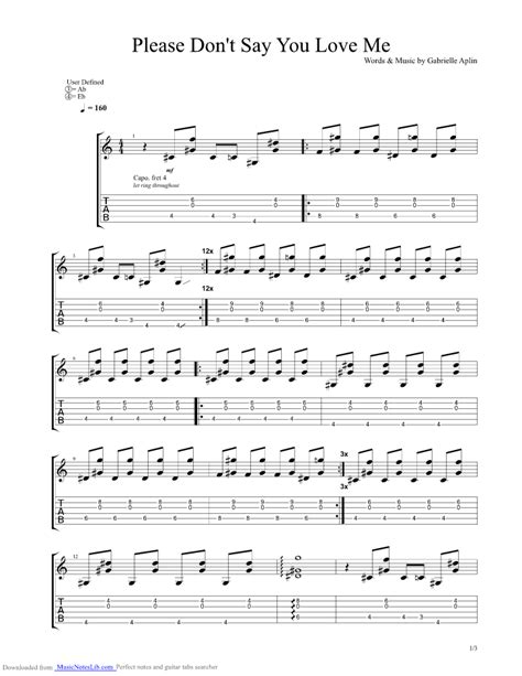 dont say you me guitar pro tab by gabrielle