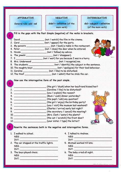 past simple of regular verbs worksheet free esl