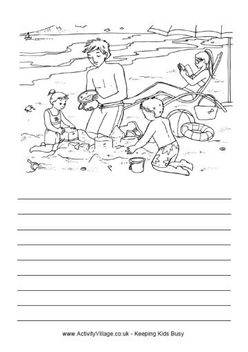 printable beach activity sheets at the beach story paper