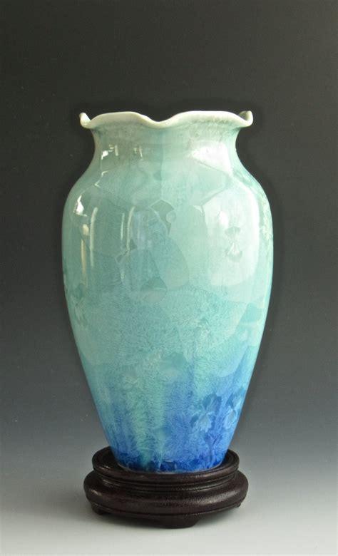 Handmade Pottery Vase - handmade ceramic vase crystalline pottery turquoise blue