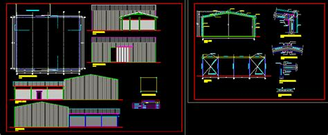 metal shed warehouse dwg block  autocad designs cad