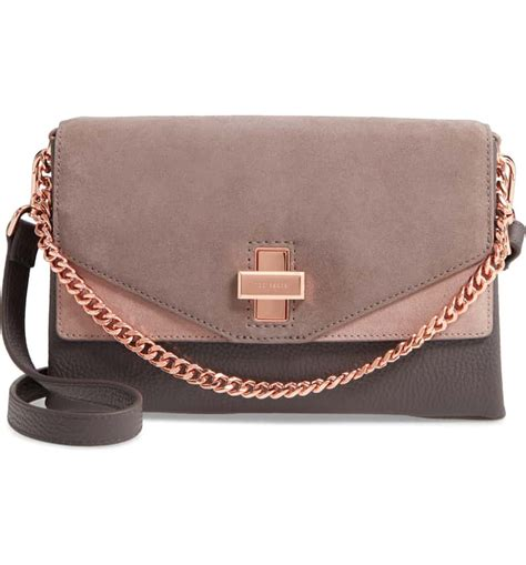 ted baker london vierra leather suede crossbody bag