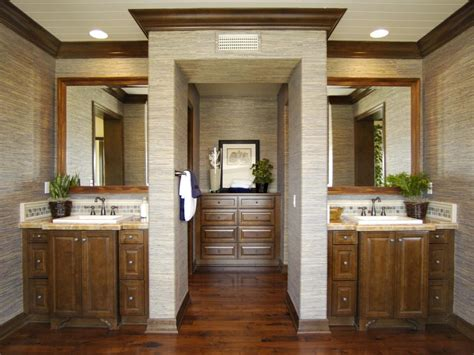 contemporary bathroom entrance with split vanities hgtv