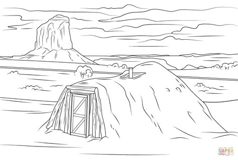 valley pattern worksheet navajo hogan in monument valley coloring page free
