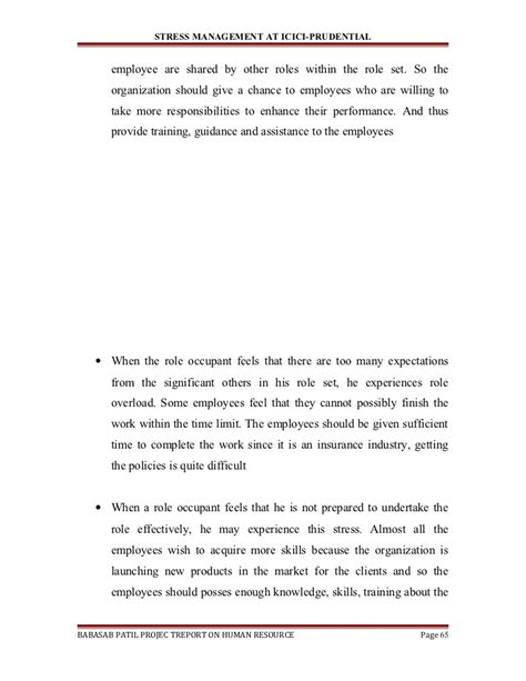 Sample Project Report On Stress Management A Project Report On Stress Management At Icici Prudential