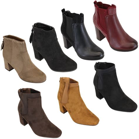 chelsea ankle boots womens suede look shoes block