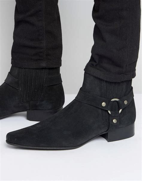pointed boots for asos chelsea boots in black suede with pointed toe and