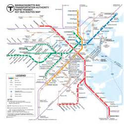 Map Of Boston T by Official Map Mbta Rapid Transit Key Bus Routes