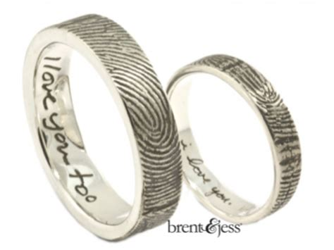 set of note fingerprint wedding rings with exterior