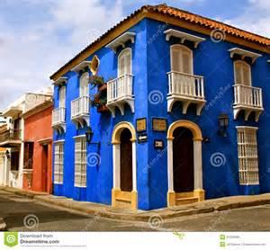 Colonial House Plans colorful street corner cartagena de indias royalty free