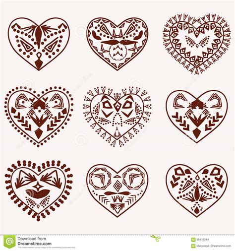 heart henna tattoo designs hearts vector stock vector