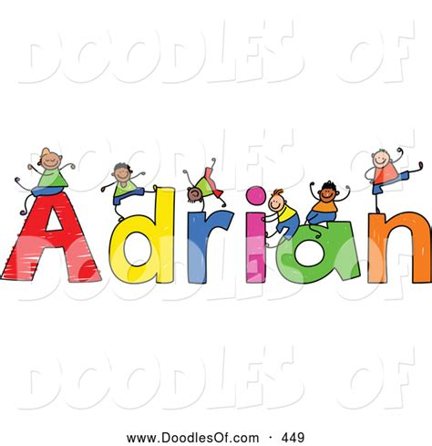 doodle name adrian vector clipart of a childs sketch of boys on