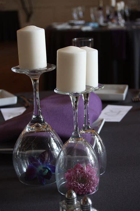 Summer Wedding In La Jolla Cuvier Club Wedding Centerpieces With Wine Glasses