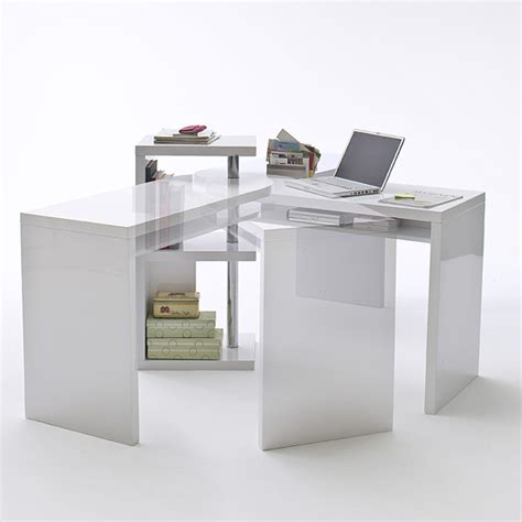 Sydney Rotating Office Desk In High Gloss White 40126w High Gloss Computer Desk