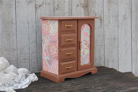 Pink Jewelry Armoire by Jewelry Box Jewelry Armoire Shabby Chic Brown Pink Aqua