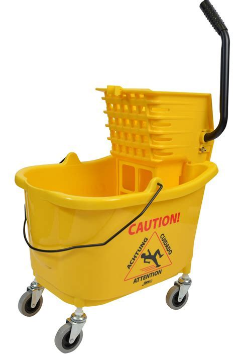 Mop Bucket With Side Press Wringer Combo 35 Quart Yellow