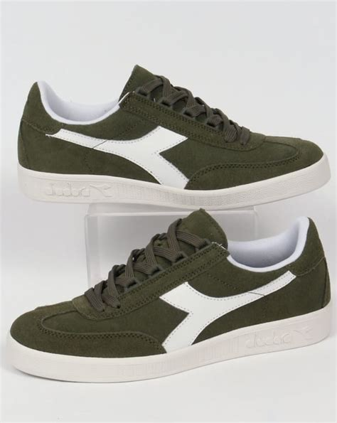 Diadora Clasic Original diadora b original suede trainers green olivina borg shoes mens