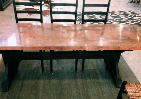 copper top kitchen table copper top dining table what s new