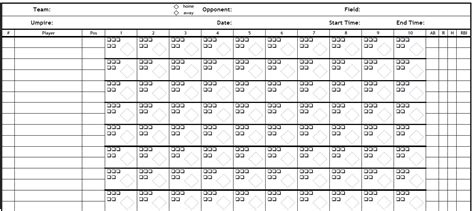 blank scorecard template printable pdf baseball scorecard pdf baseball scorecard