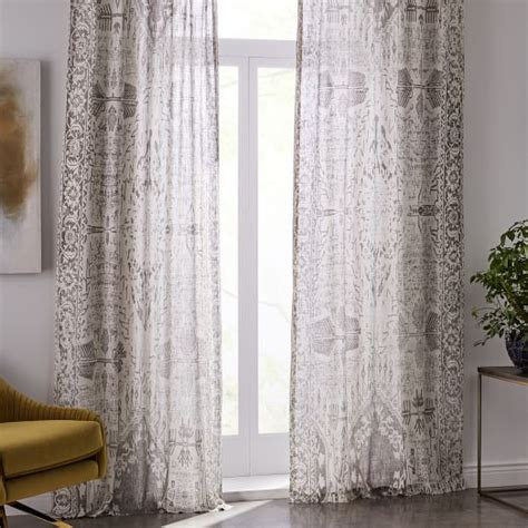 West Elm Medallion Shower Curtain Decor Sheer Cotton Distressed Medallion Curtains Set Of 2 Cloudburst West Elm