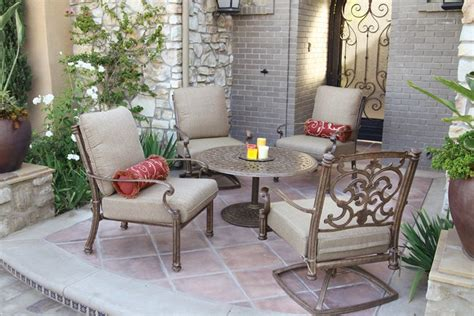 patio furniture deep seating ensemble cast aluminum 5pc