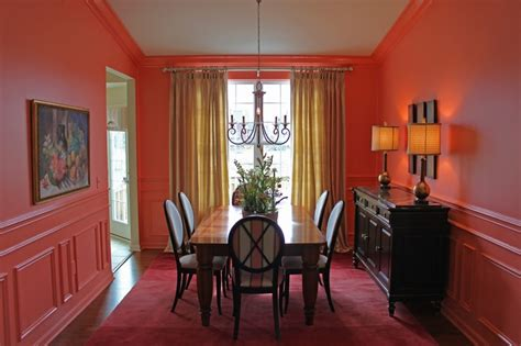 dining room coral high gloss trim walls  trim  color crown molding wainscot