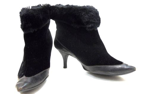faux fur high heel boots vy black velvet faux fur winter high heel boots circa