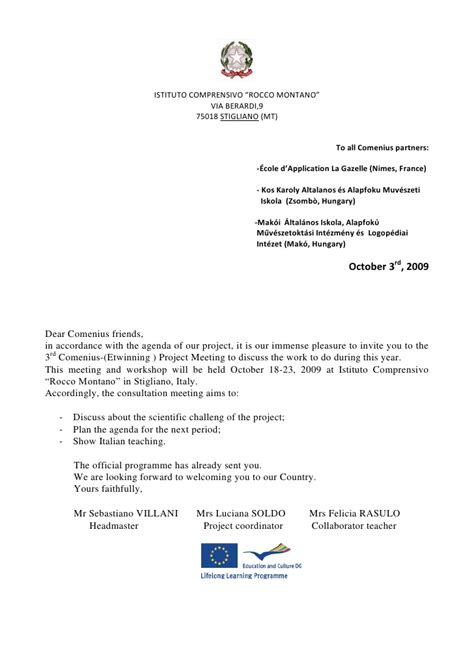 Invitation Letter Format For Italy Visa Comenius Letter Of Invitation Italy