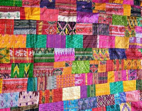Indian Patchwork Quilt - indian quilt vintage quilt patola indian silk sari