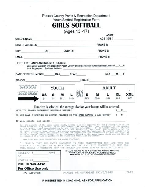 News Articles Peach County Softball Registration Form Template