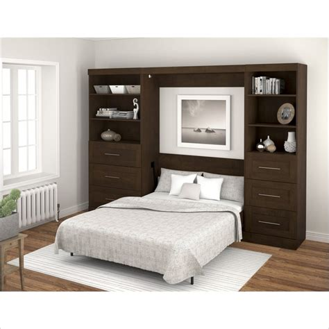 bestar murphy bed bestar pur full size wall bed in chocolate 26180 69
