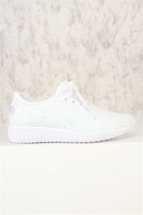 white lace up sneakers white sequins front lace up sneakers
