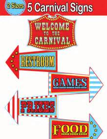 Carnival directional signs circus welcome sign instant download