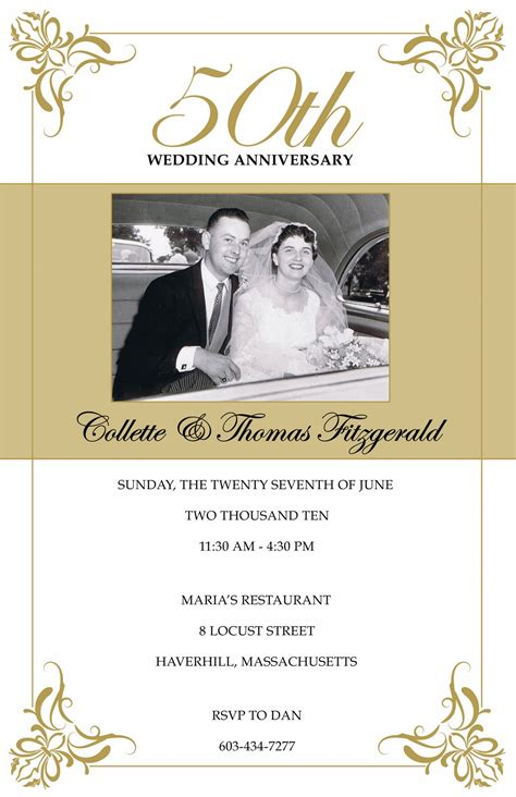50th wedding anniversary invitations free templates annagraham design 50th anniversary