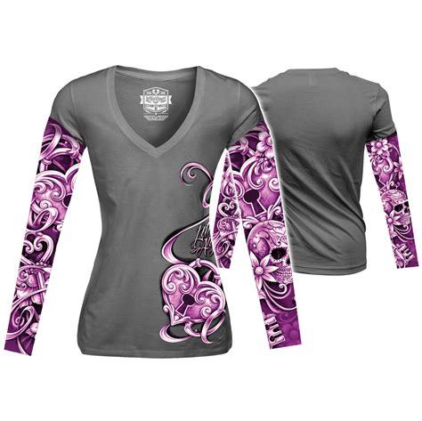tattoo aftercare long sleeve lethal angel women s heart lock tattoo sleeve gray long