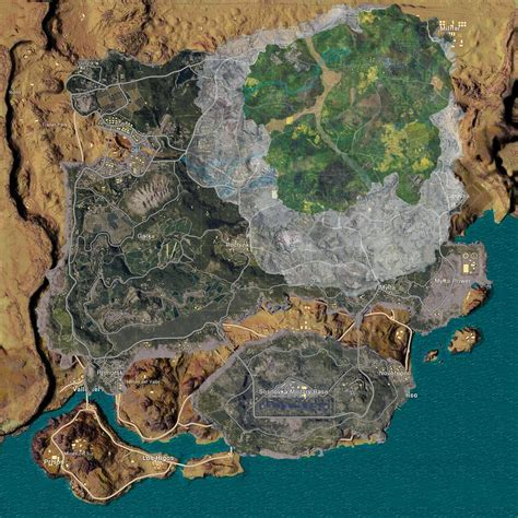 miramar  erangel  sanhok  vikendi map size