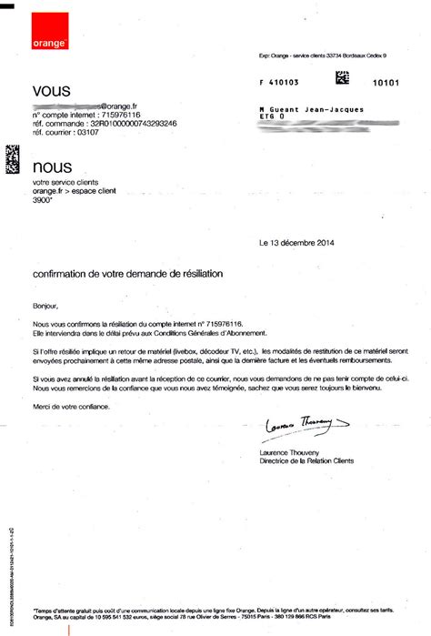 Lettre De Resiliation Orange Professionnel Modele Lettre Resiliation Orange Livebox