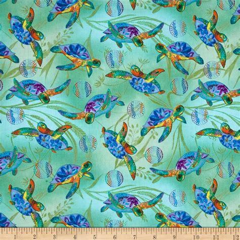 designer fabrics calypso sea turtles seagrass turtle multi discount
