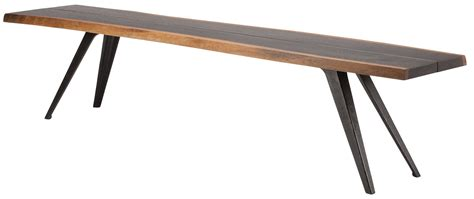 metal dining bench vega 75 quot seared wood and black metal dining bench from nuevo coleman furniture