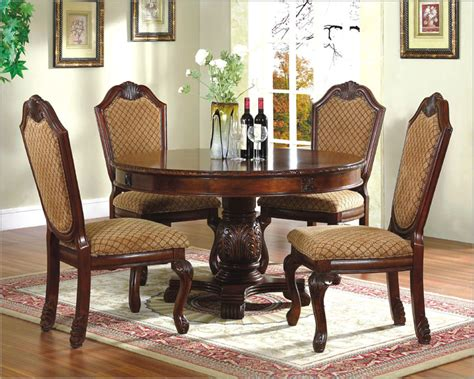 round wood dining room table sets 5pc dining room set with round table in classic cherry