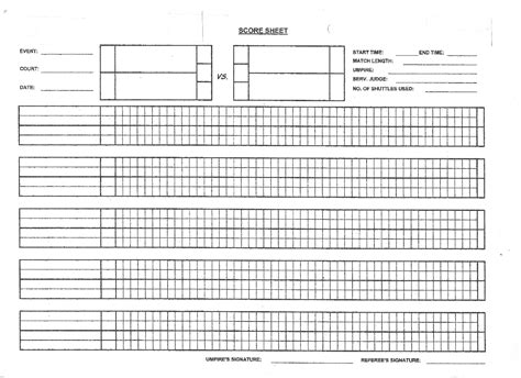 Badminton Score Card Template by Excel Bowling Score Sheet Bed Mattress Sale