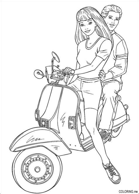 coloring page barbie and ken on scooter coloring me