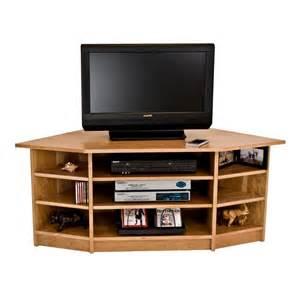 Solid wood corner tv stand in cherry maple walnut oak hardwood
