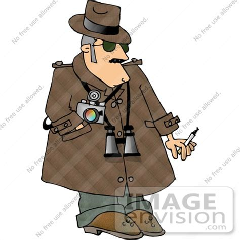 private eye detective man with binoculars and a camera